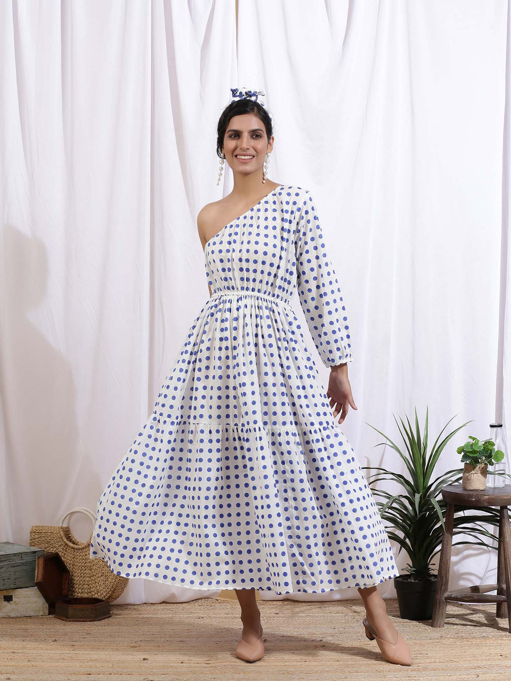 Blue and White Love Me Polka Dress - Riviera Closet
