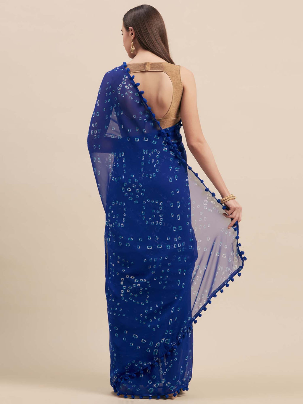 Blue Poly Georgette Bandhani Design Saree With Pom Pom Lace - Riviera Closet