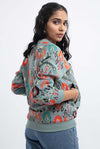 Blue Garden Printed Art Georgette Bomber Jacket - Riviera Closet