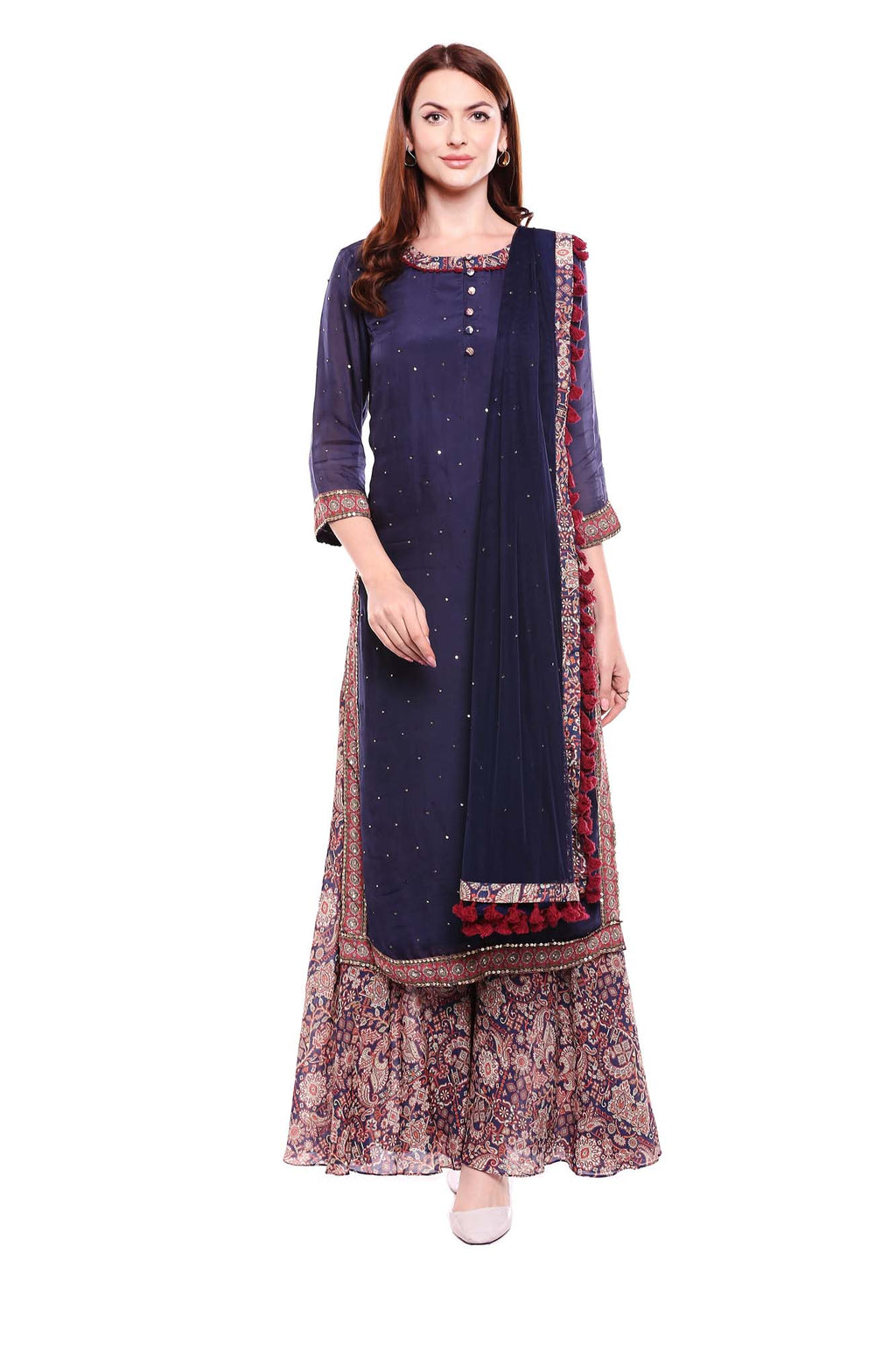 Blue Kurta with Cheeta Print and Side Slits with Pants and Dupatta - Riviera Closet
