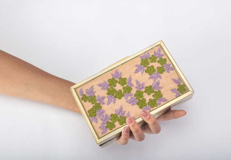 Flower Swag Zardozi Work Clutch - Riviera Closet