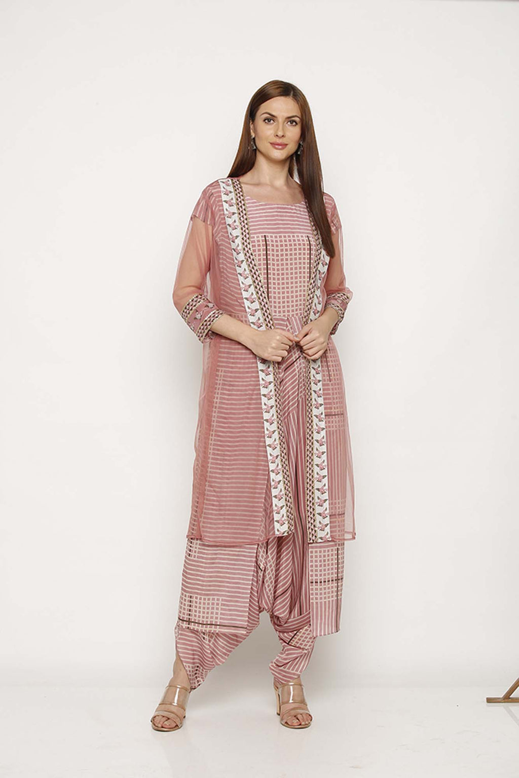Printed Pink Dhoti Jumpsuit with Jacket - Riviera Closet
