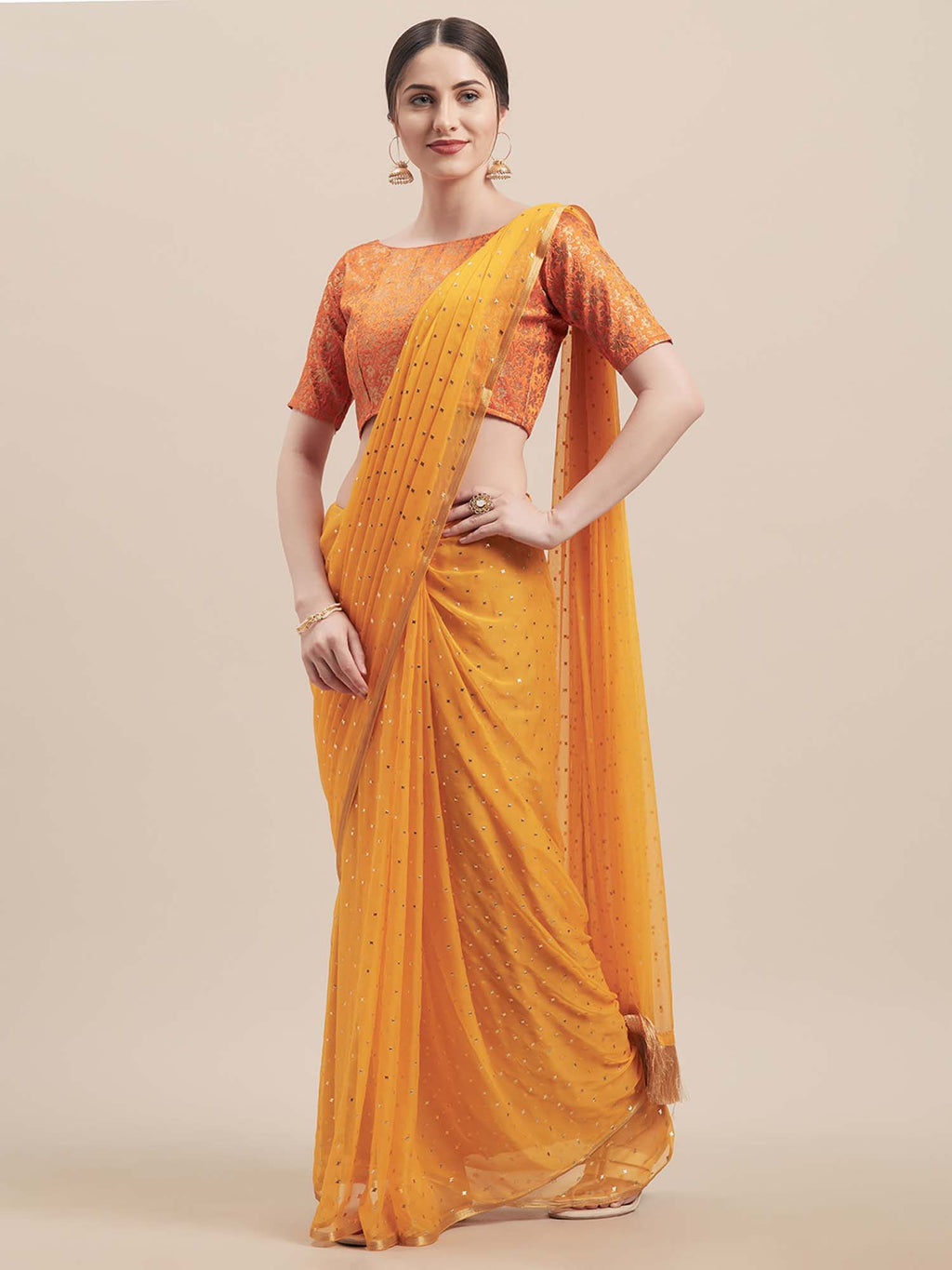 Yellow Poly Georgette Women Saree - Riviera Closet