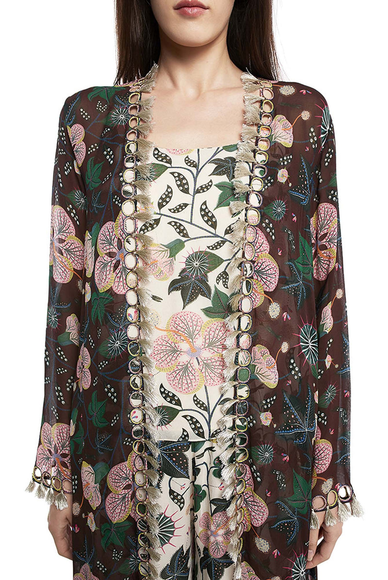 White Colour Printed Art Georgette Camisole with Frill Palazzo and Brown Colour Printed Duster Jacket - Riviera Closet