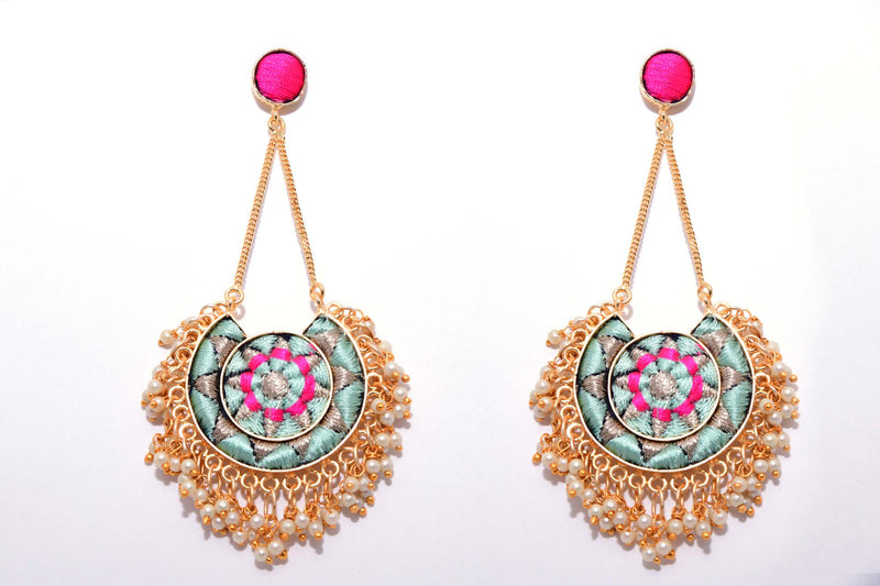 Vanilla And Pink Matte Finished Moon With Chain Earrings - Riviera Closet