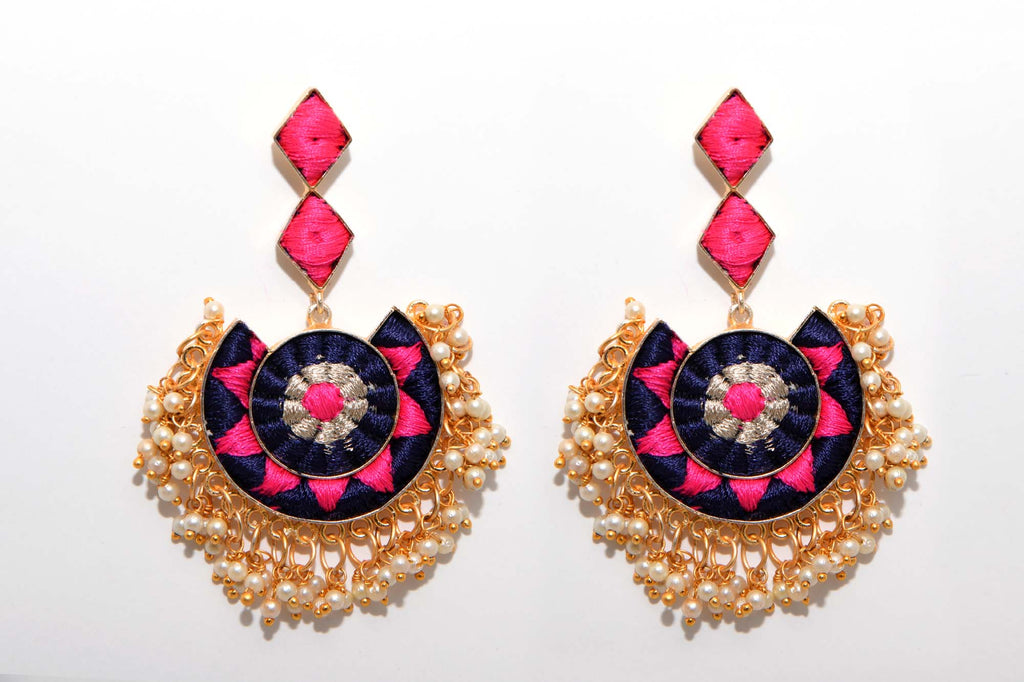 Black And Deep Pink With Silver Zari Work Matte Finished Circle With Moon Shaped Earrings - Riviera Closet