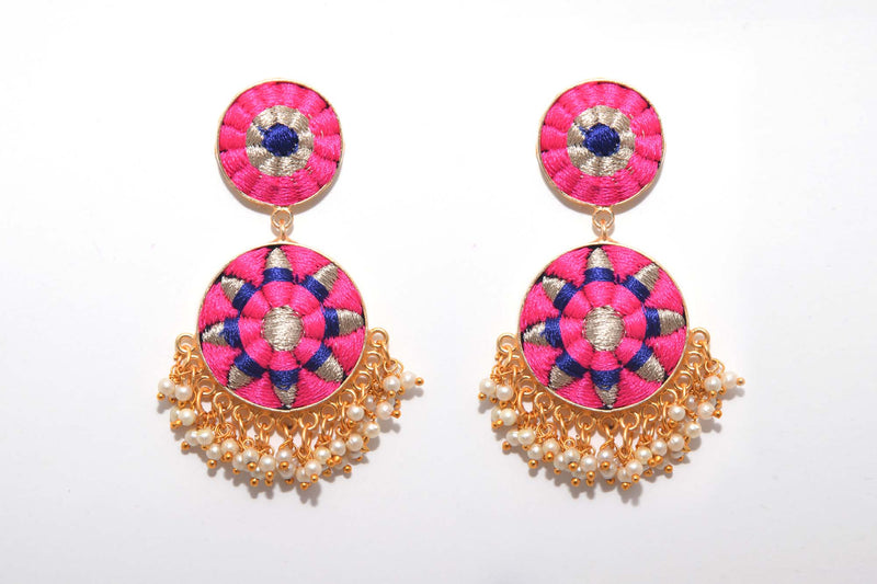 Pink And Royal Blue Matte Finished Double Circular Earrings - Riviera Closet