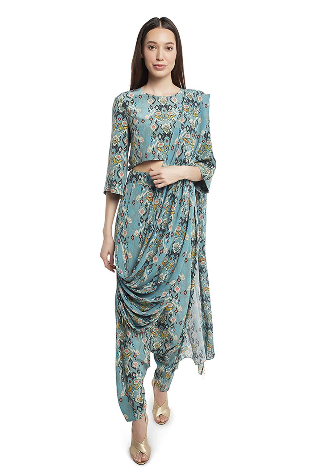 Blue Printed Crepe Crop Top and Low Crotch Pant with Attached Georgette Drape - Riviera Closet