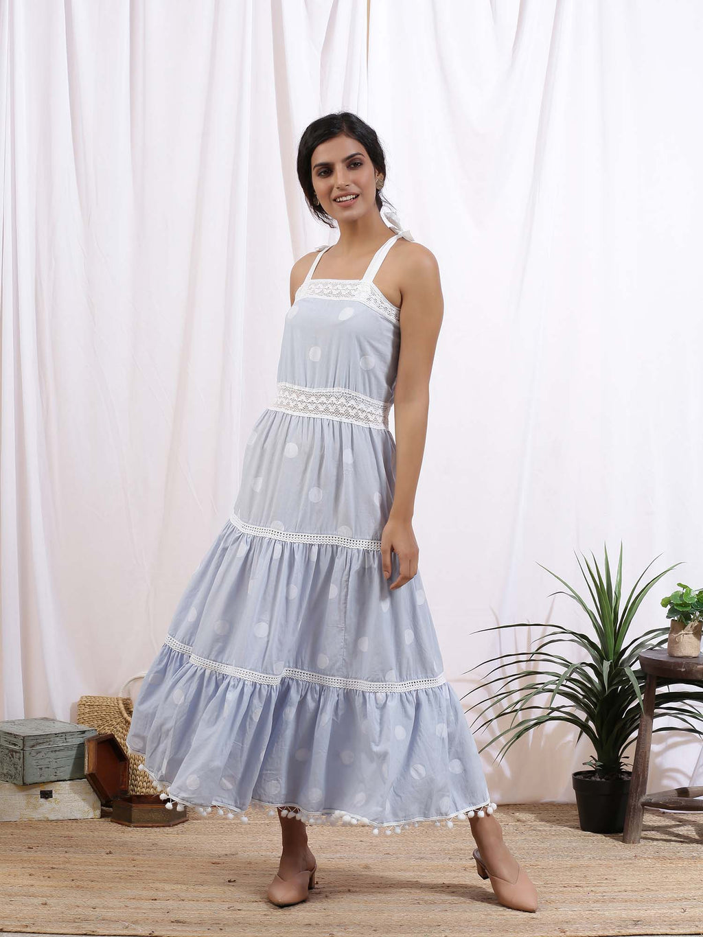 White and Blue Merilyne Dress - Riviera Closet