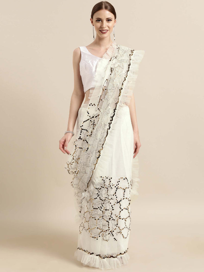 White Net Sequins Saree with Ruffle Border - Riviera Closet