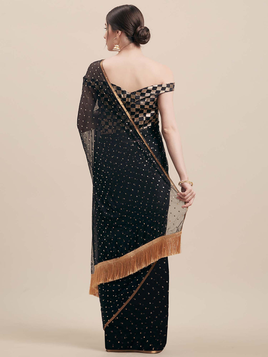 Black Poly Georgette Women Saree - Riviera Closet