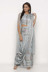 Blue Chiffon Printed Draped Saree - Riviera Closet