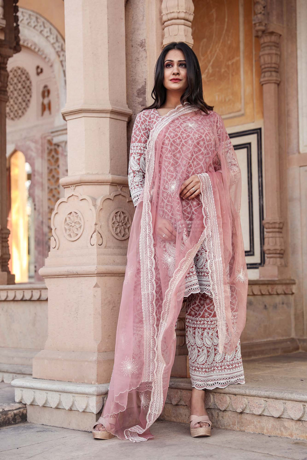 Hina Pink Chikan Embroidered Salwar Suit Set - Riviera Closet