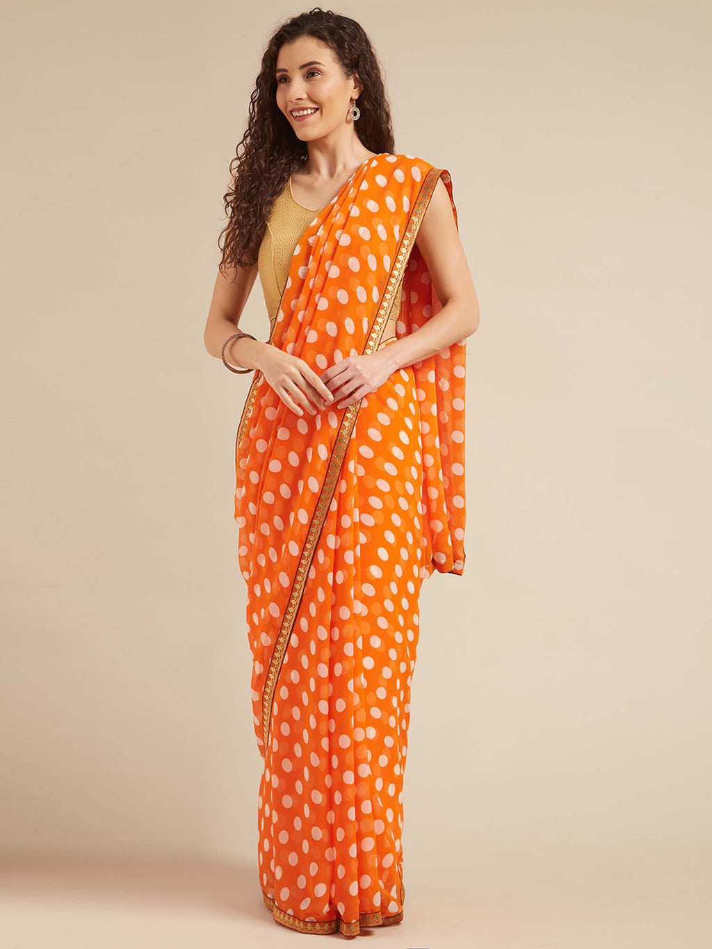 Orange and White Poly georgette Polka dots print with Printed Lace and Solid Dupion Blouse - Riviera Closet