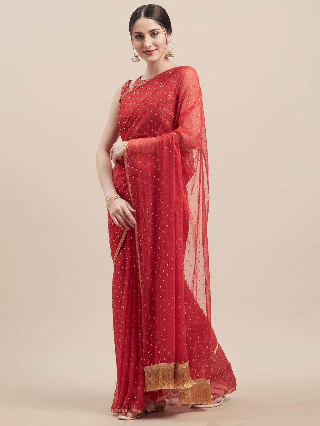 Red Poly Georgette Saree - Riviera Closet
