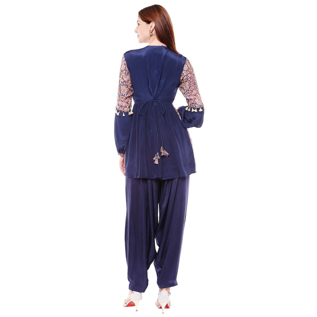 Navy Blue Top with Dhoti Style Pants - Riviera Closet