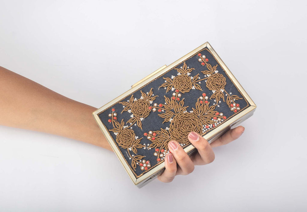 Zardozi Royal Blue Pearl Work Clutch - Riviera Closet