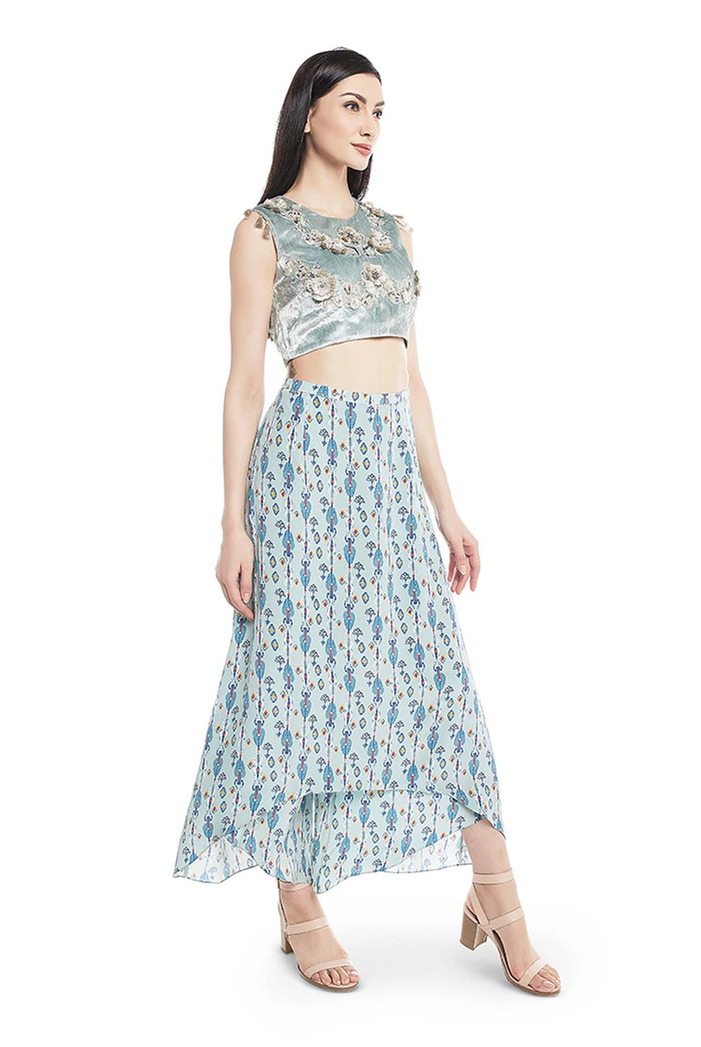 Powder Blue Colour Velvet Choli With Blue Printed Crepe Skirt Palazzo - Riviera Closet