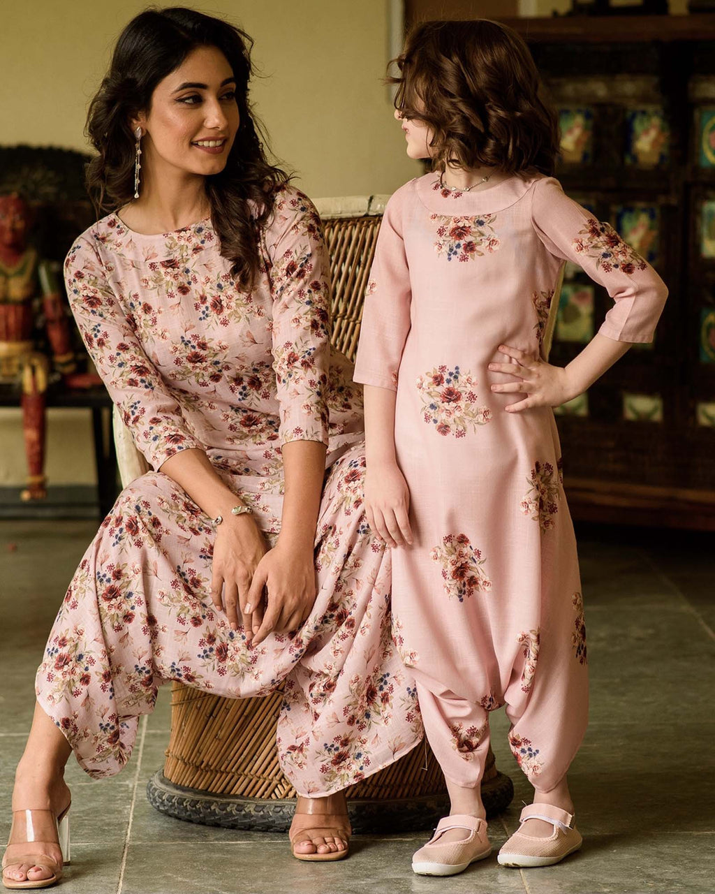 Mother Daughter Carnation Pink Dhoti Jumpsuit - Riviera Closet