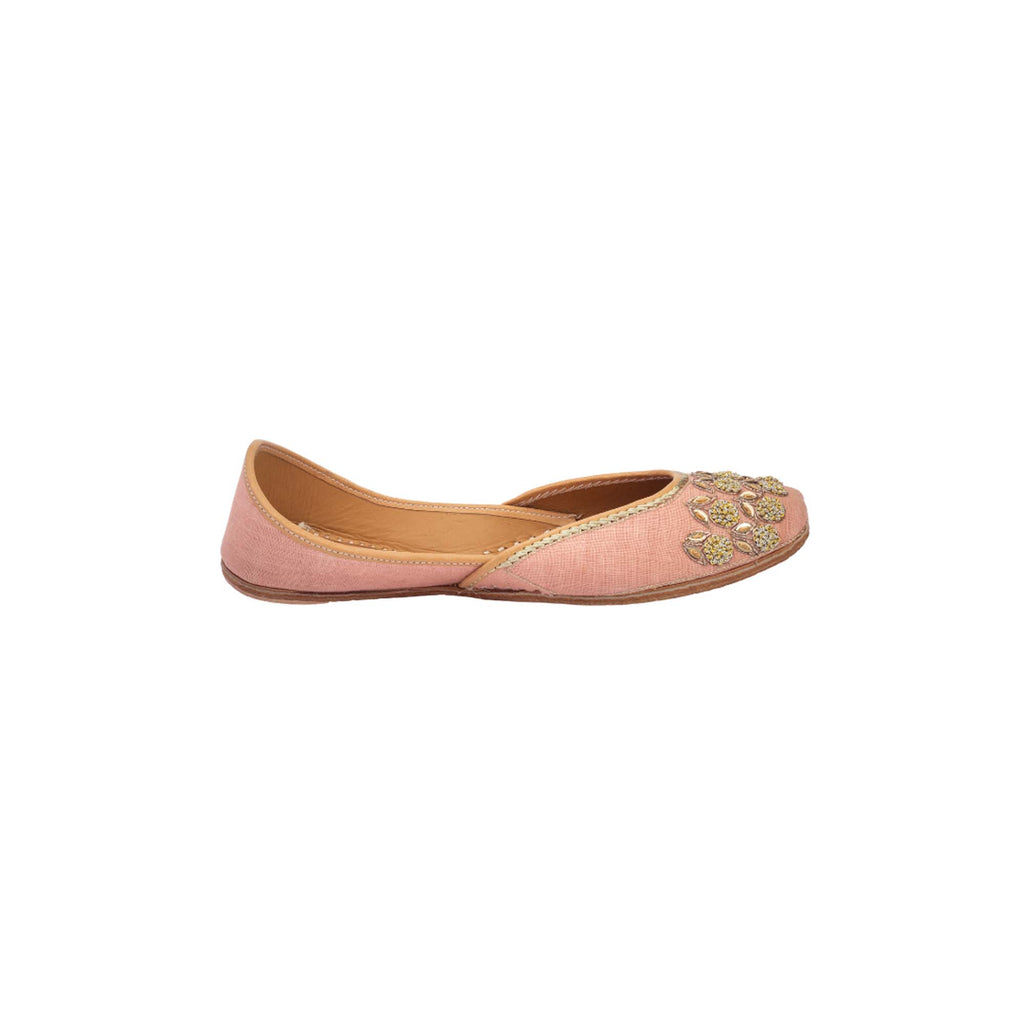 Align Hand Embroidered Floral Pink Juttis - Riviera Closet