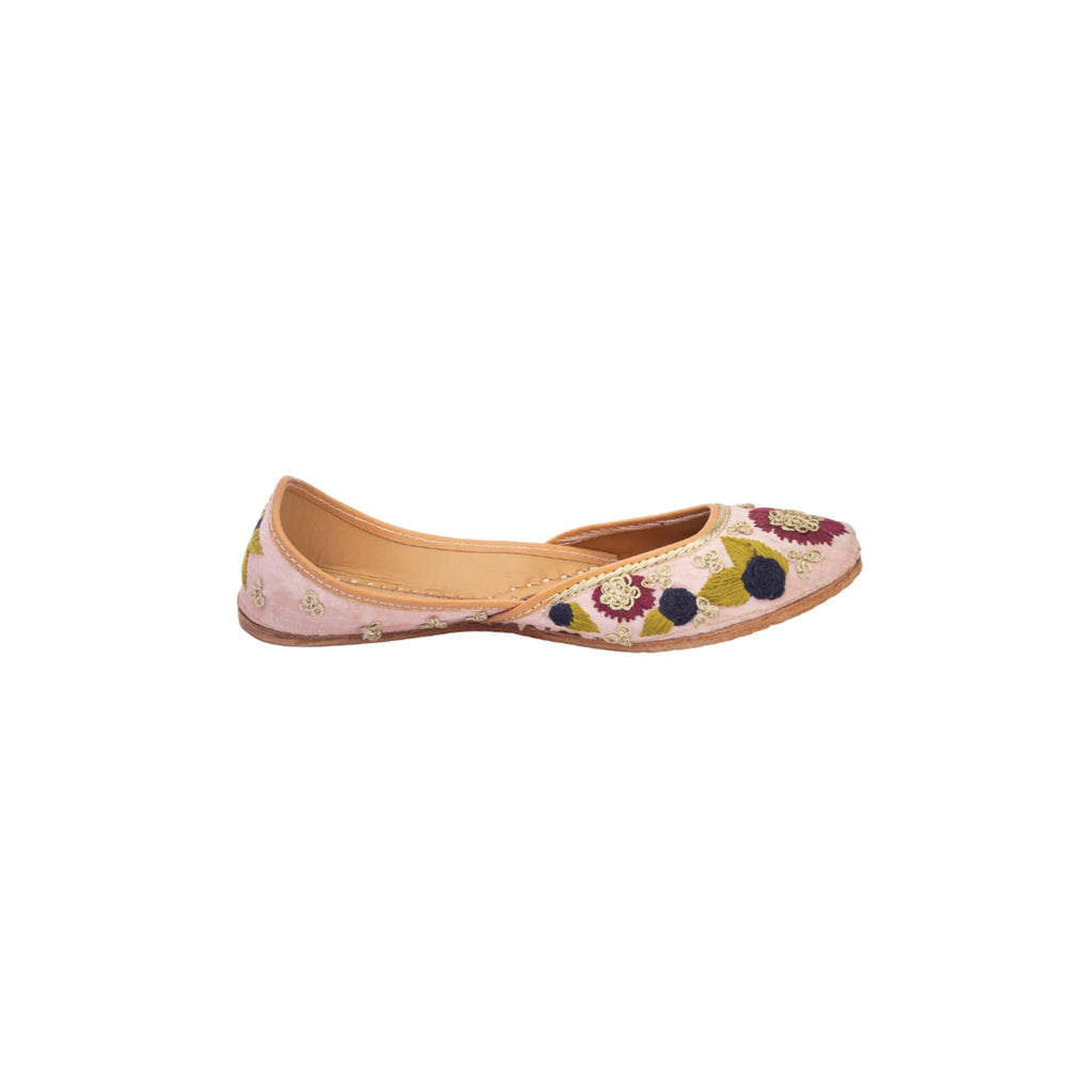 Pink Colour Hand Embroidered Juttis - Riviera Closet