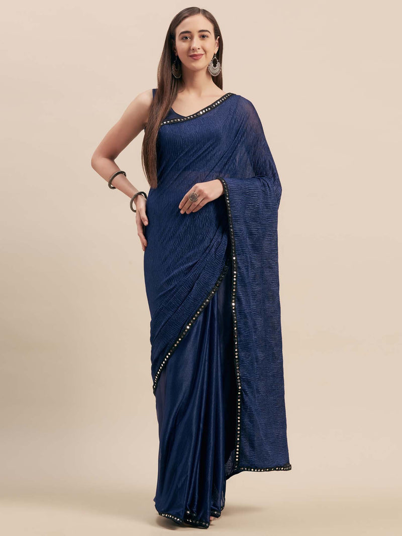 Blue Crush Satin Half-Half Saree With Mirror Lace - Riviera Closet