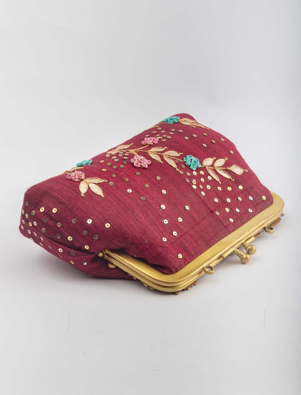 Joomer Khadi Silk Red Clutch - Riviera Closet