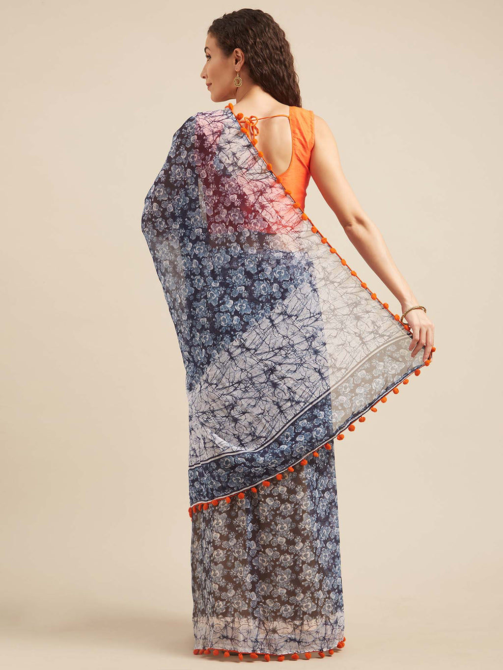 Blue and White Poly Georgette Batik Print Saree With Pom Pom Lace - Riviera Closet
