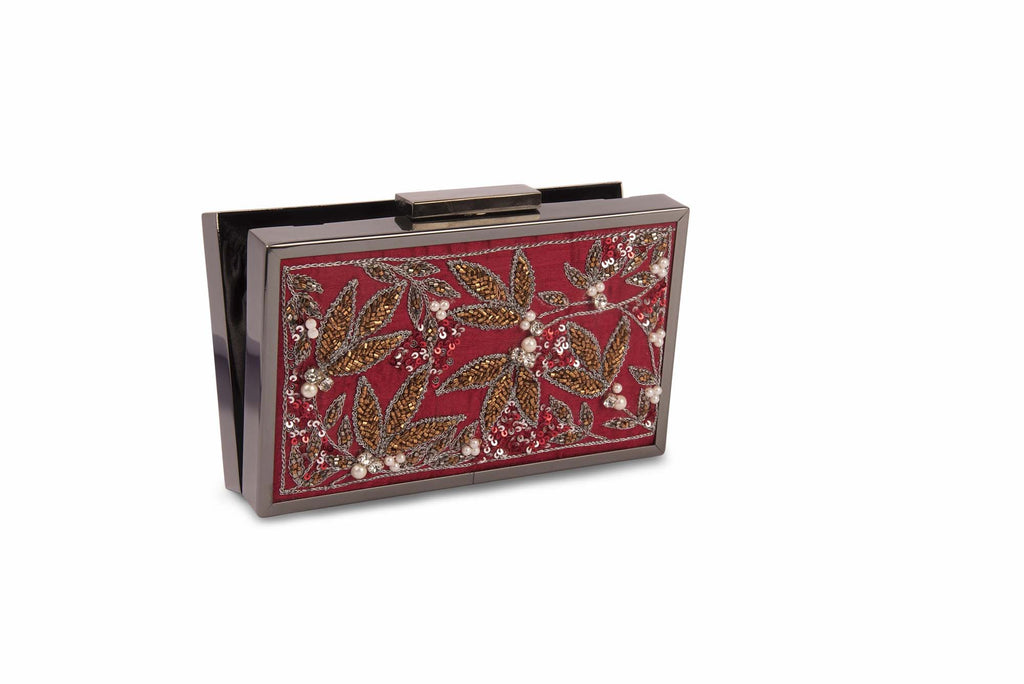 Red Safari Embroidered Clutch - Riviera Closet