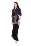 Printed Black and Beige Overlap Collar Jacket with Dhoti Drape Skirt - Riviera Closet