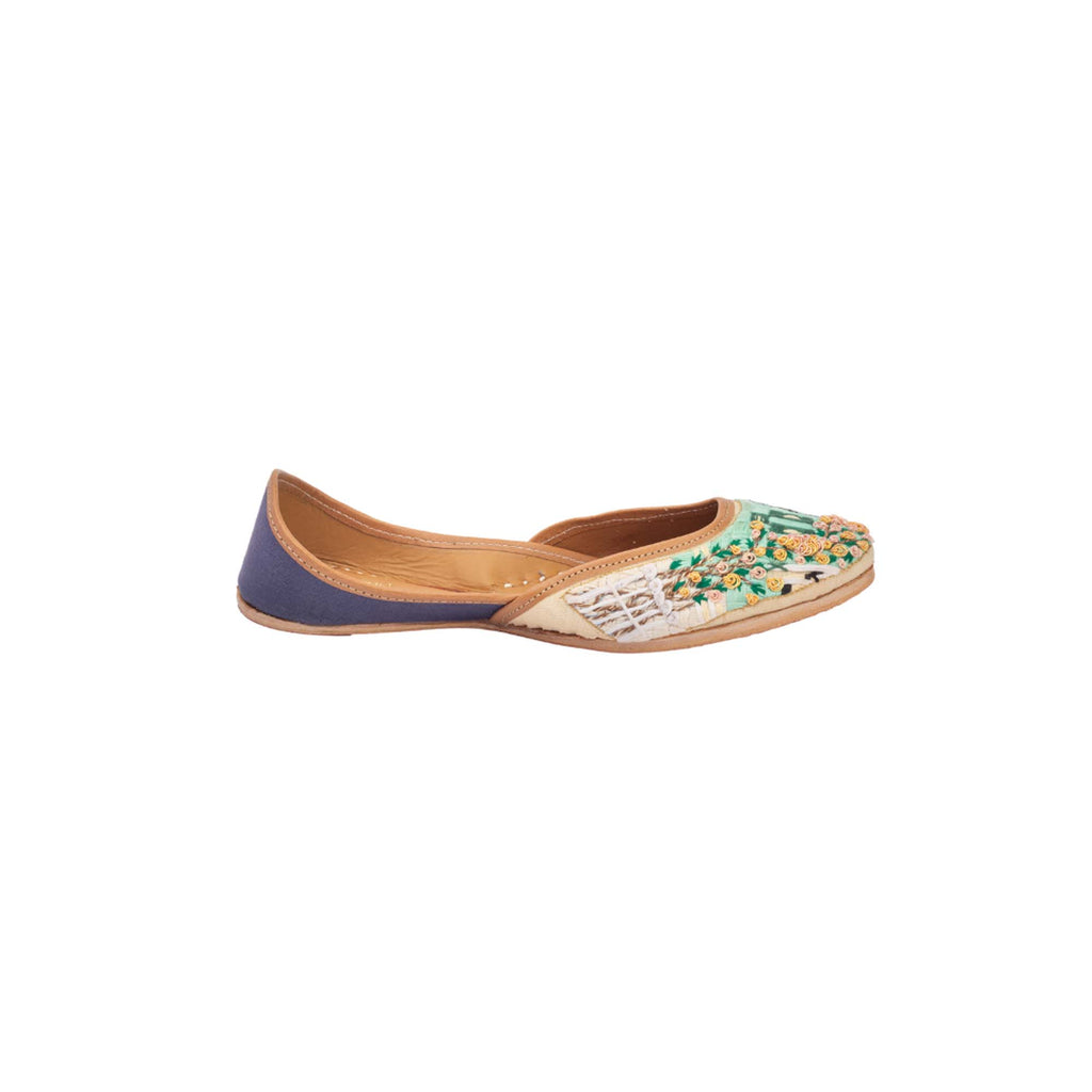 Floral Thread Work Multi Colour Hand Embroidered Juttis - Riviera Closet