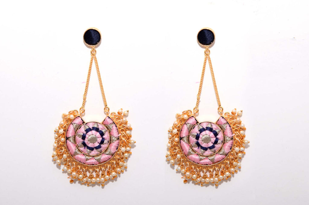 Baby Pink And Navy Blue With Silver Zari Matte Finished Moon With Chain Earrings - Riviera Closet