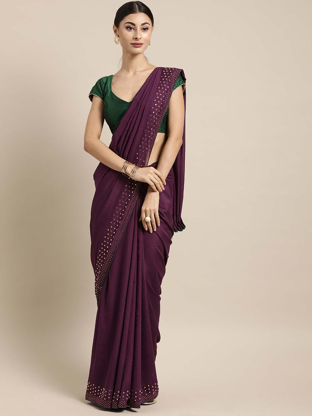 Magenta Color Poly Crepe Solid Saree With Swarovski Crystal as Decoratives and Green Polycotton Blouse - Riviera Closet