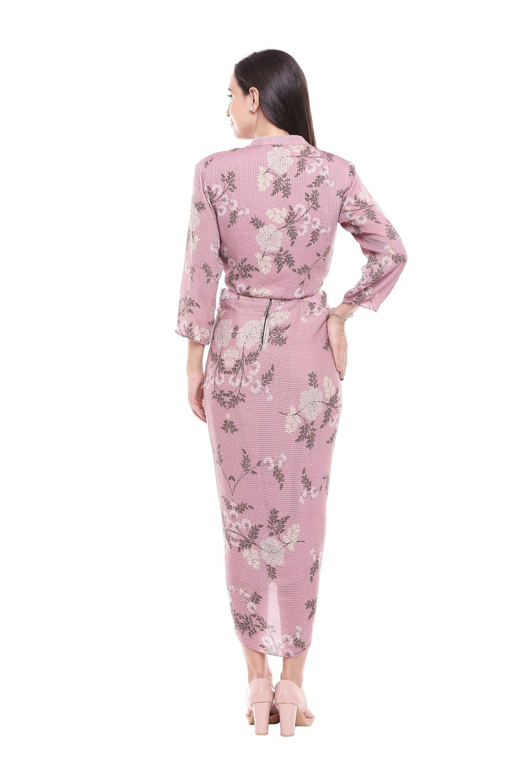 Pink Floral Sequence Printed Drape Dress With Jacket - Riviera Closet