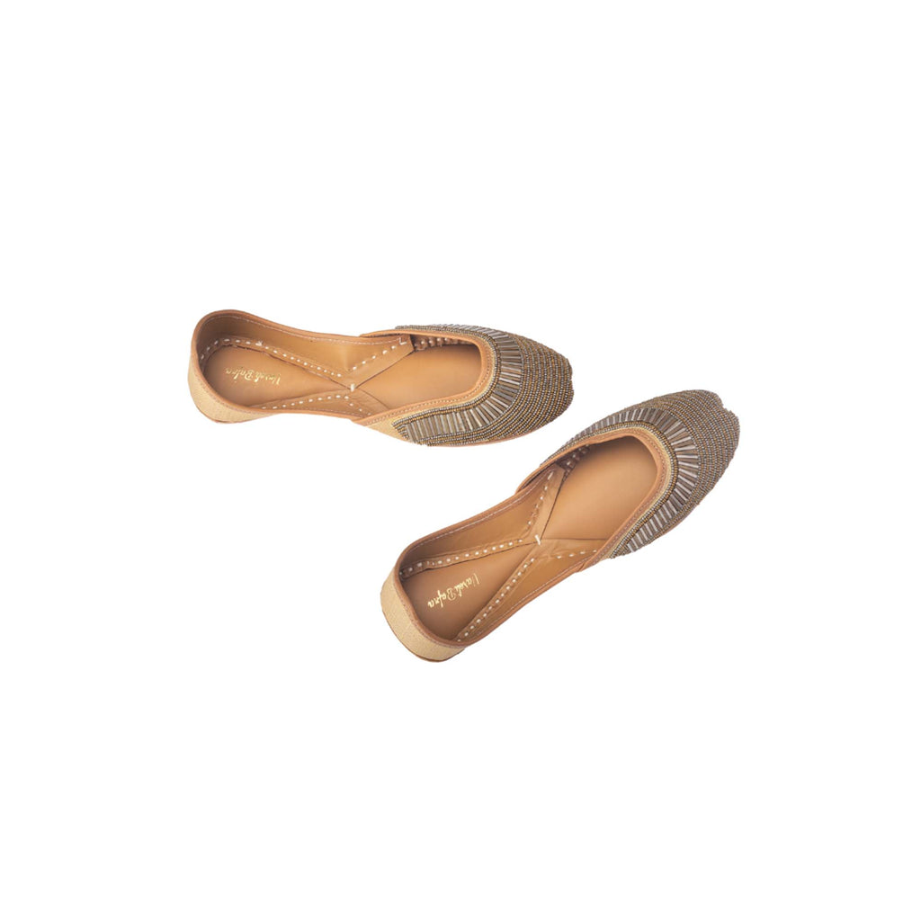 Brown Colour Hand Embroidered Juttis - Riviera Closet