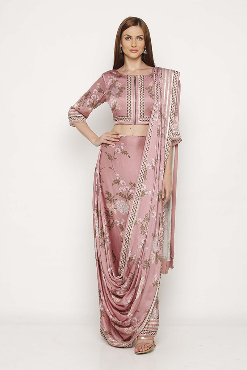 Printed Pink Jacket Blouse with Drape Saree Skirt - Riviera Closet