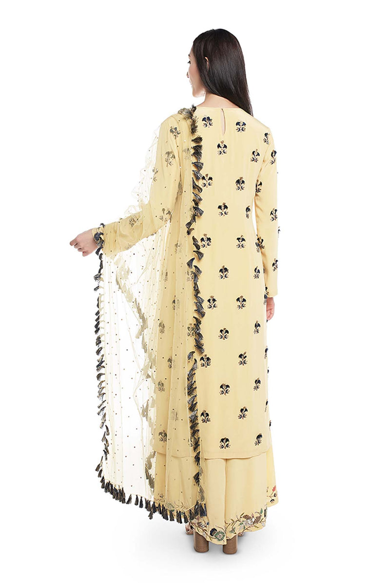 Pale Yellow Colour Crepe Kurta with Plaazzo and Mukaish Net Dupatta - Riviera Closet