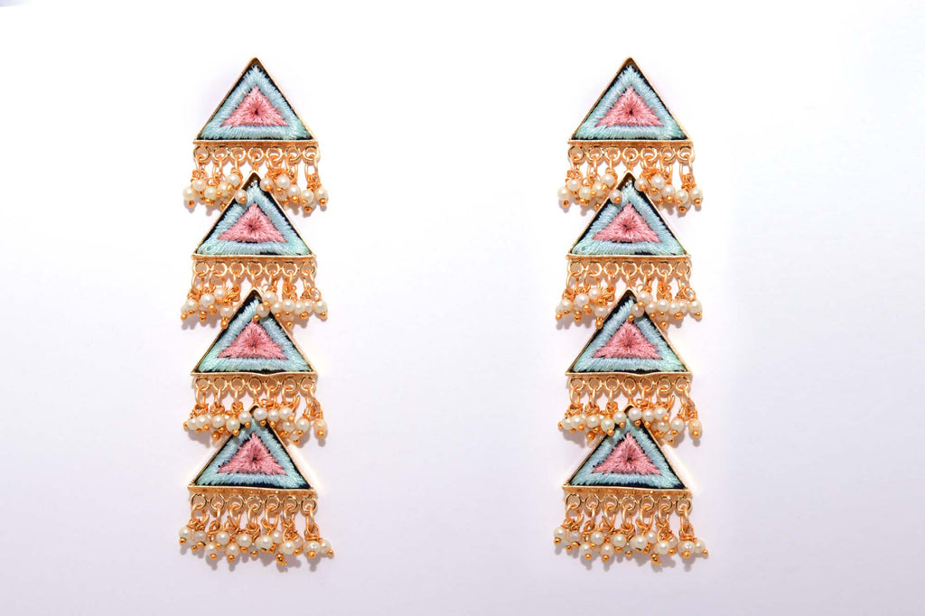 Green and Pink Matte Finished Long Four Layered Triangle Earrings - Riviera Closet