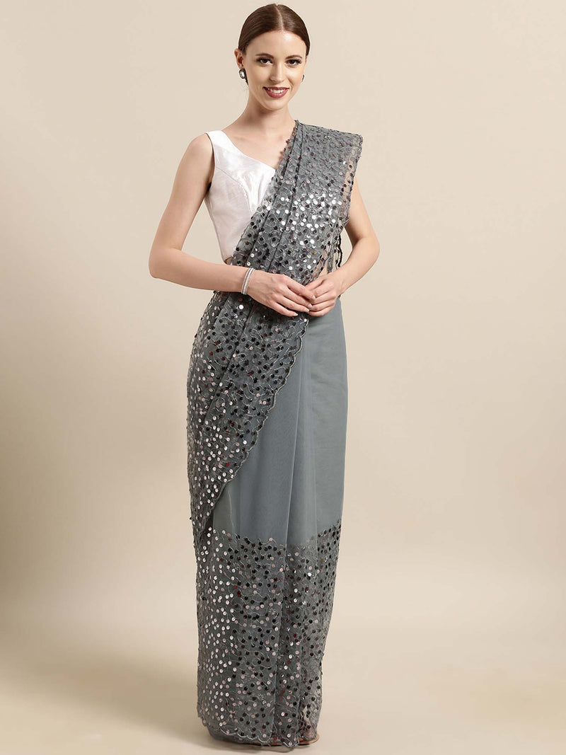 Grey Net Saree with Sequins Embroidery - Riviera Closet
