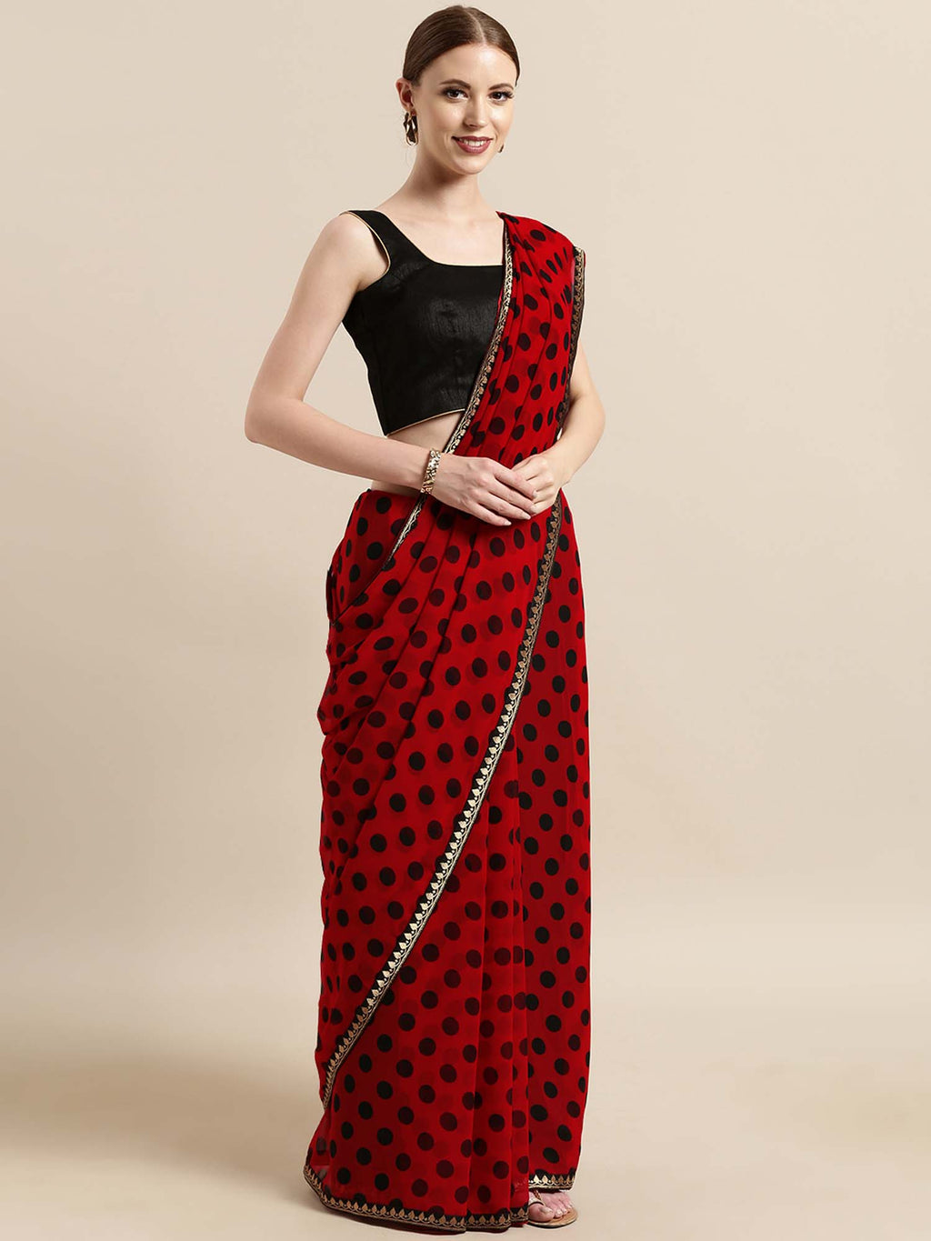 Red And Black Poly Georgette Polka Dots Print With Printed Lace And Solid Dupion Blouse - Riviera Closet