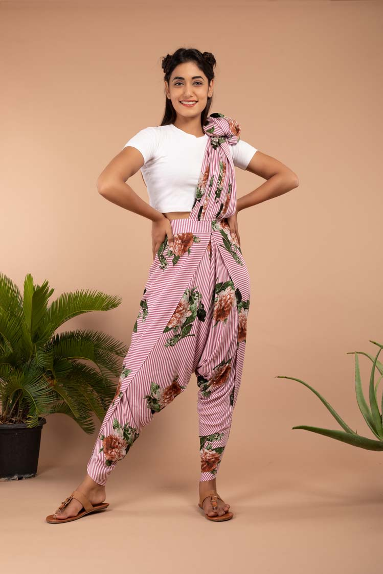 Signature Pink Striped Dhoti Saree Pants - Riviera Closet