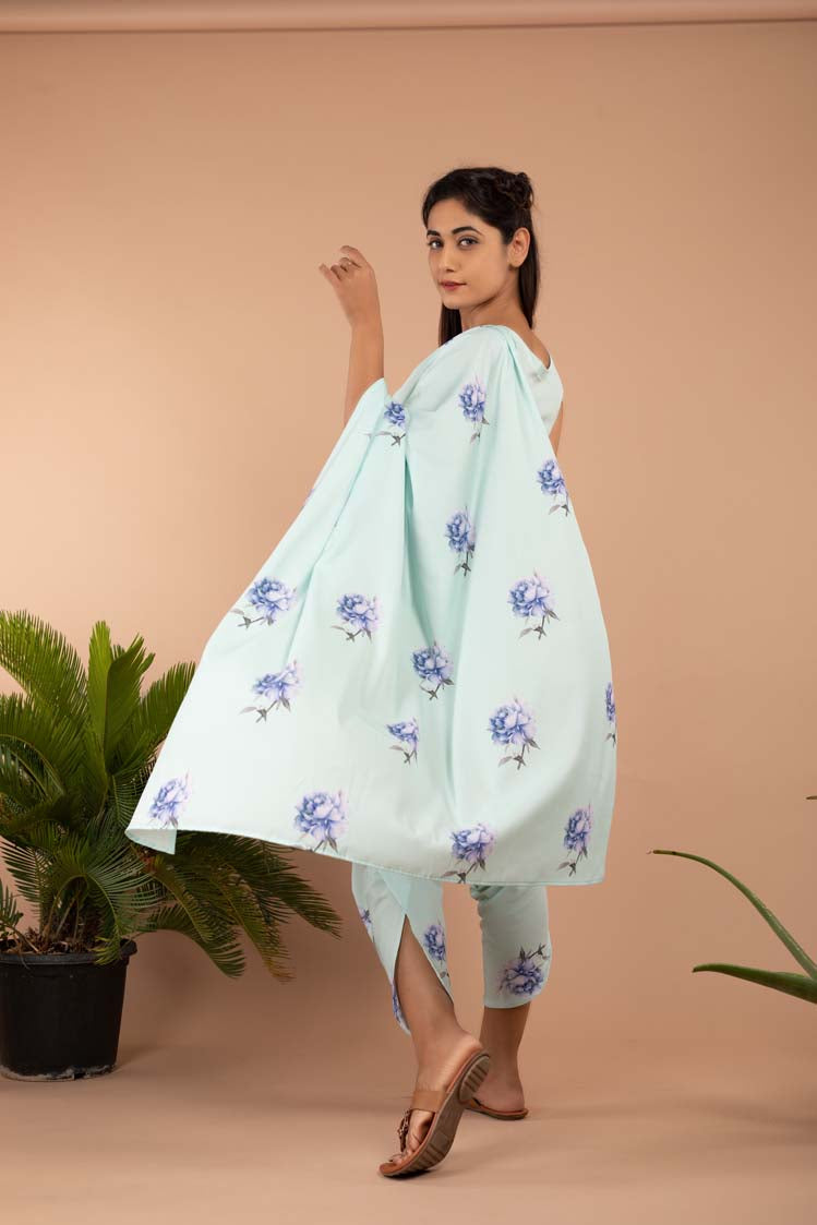 Aviary Blue Dhoti Saree Pants & Top - Riviera Closet