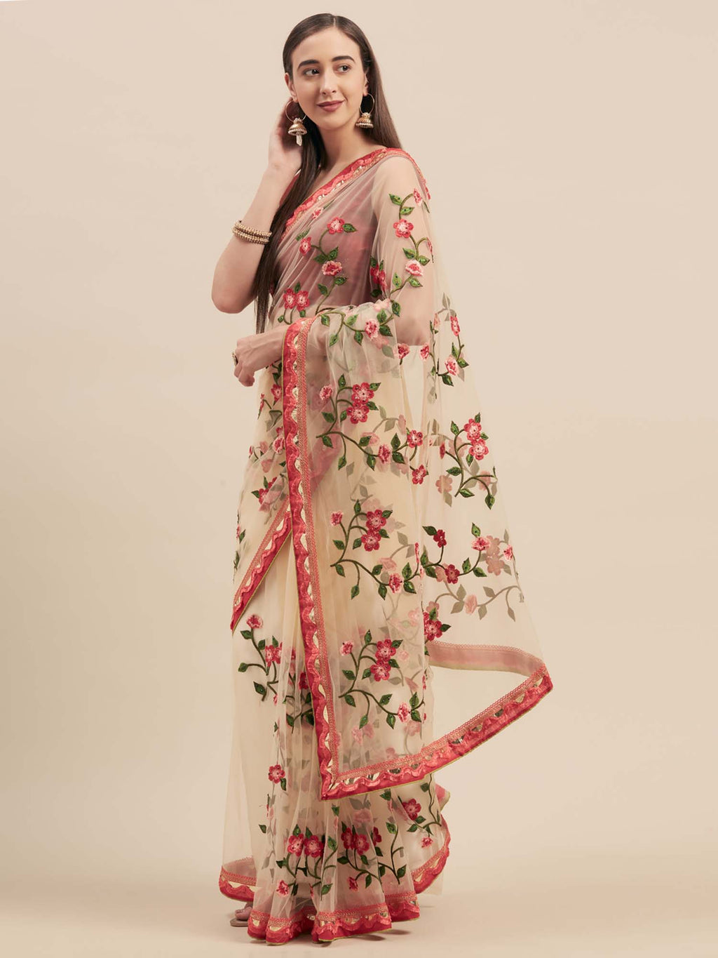 Beige Net Machine Thread Embroidered Saree With Crystal Stonework - Riviera Closet