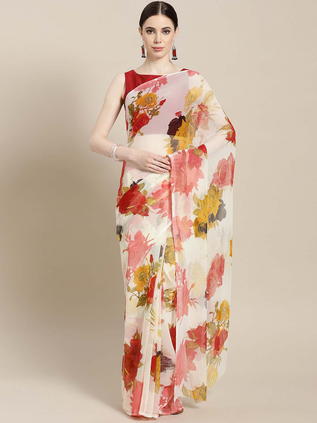 Four Seasons Off-White & Red Printed Georgette Saree - Riviera Closet