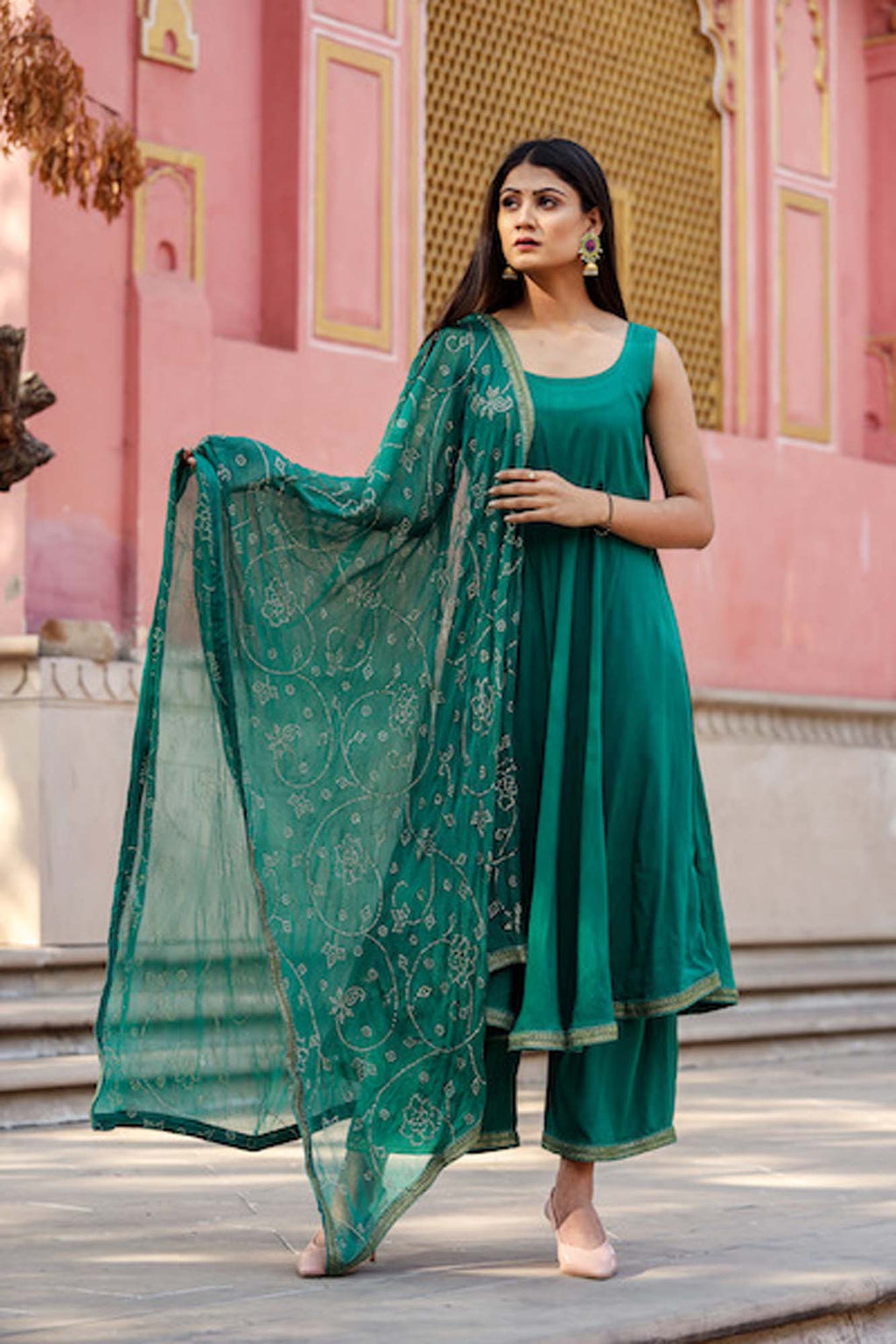 Nafisa Green Sleeveless Anarkali Suit Set with Gold Lace Details - Riviera Closet