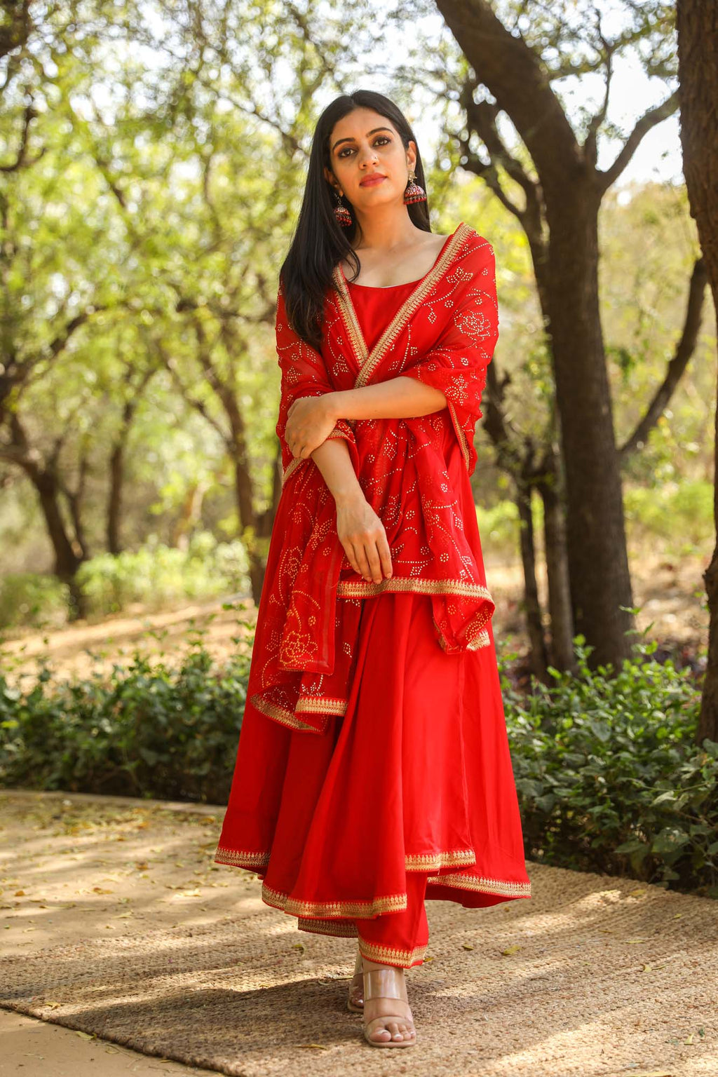 Nafisa Red Sleeveless Anarkali Suit Set with Gold Lace Details - Riviera Closet