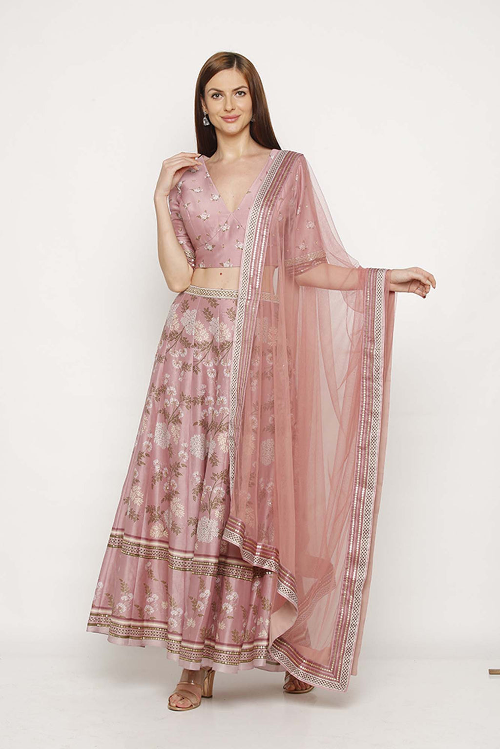 Printed Pink Skirt with Top and Dupatta - Riviera Closet