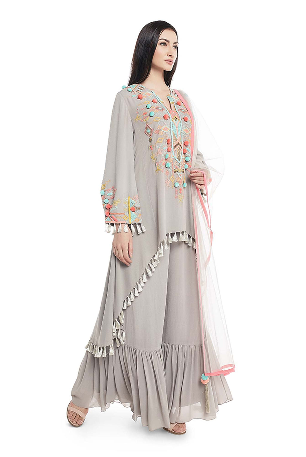 Grey Colour Georgette High-Low Kurta with Frill Palazzo and Net Dupatta - Riviera Closet
