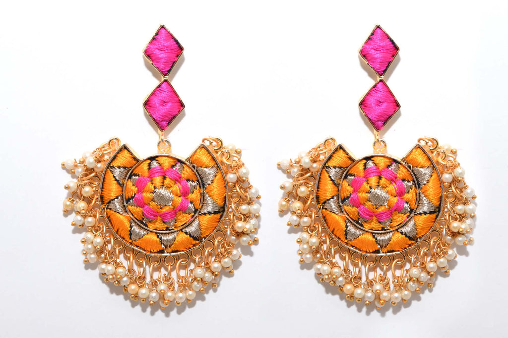 Mustard Yellow And Pink Matte Finished Circle With Moon Shaped Earrings - Riviera Closet