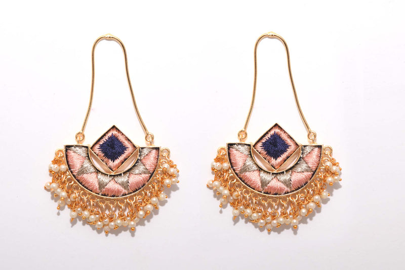 Peach and Navy Blue Matte Finished Fusion Of A Geometric Square And An Indian Shaped Chandbali Earrings - Riviera Closet